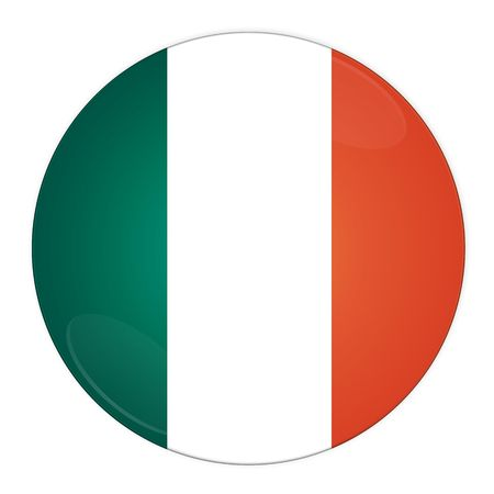 Abstract illustration: button with flag from Ireland country Stock Illustration - 3664499