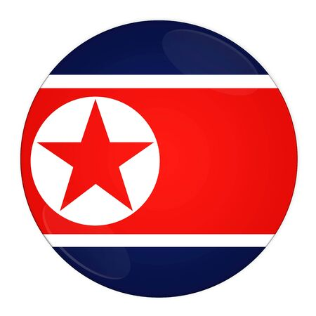Abstract illustration: button with flag from North Korea country Stock Illustration - 3664572