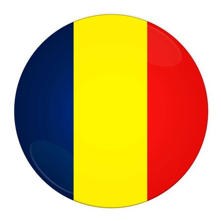 Abstract illustration: button with flag from Romania country illustration