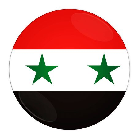 Abstract illustration: button with flag from Syria country  illustration