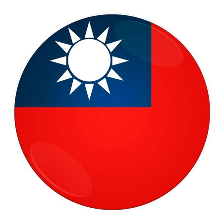 south asian: Abstract illustration: button with flag from Taiwan country  Stock Photo