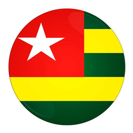 Abstract illustration: button with flag from Togo country  illustration
