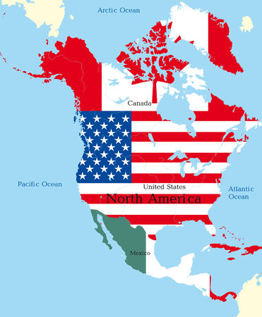 Abstract map of north america colored by flags Vector