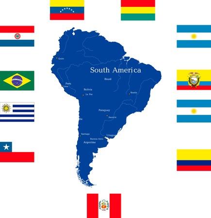 south america: Resumen mapa de Am�rica del Sur con los pa�ses continente banderas