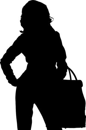 Shopping posing girl vectors silhouette Illustration