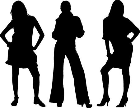 Three sexy girls vectors silhouette Vector