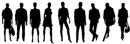 shadow people: Abstract vector people silhouettes illustration
