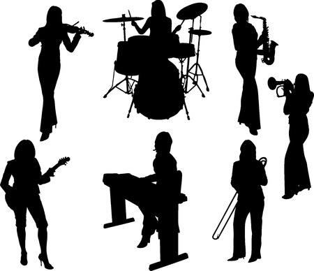 Vector Illustration: group of music girls silhouette Illustration