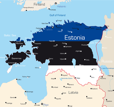 Abstract vector color map of Estonia country coloured by national flag  Vector