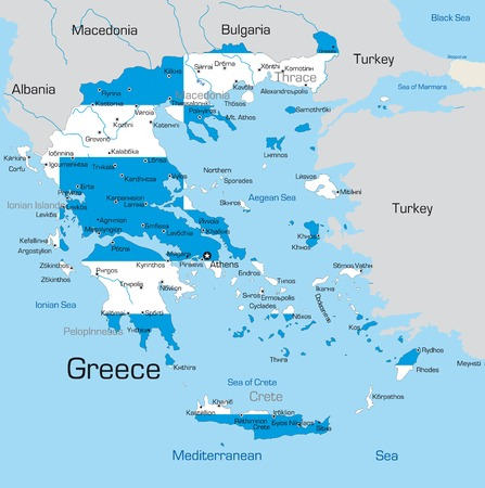 greece map: Abstract vector color map of Greece country coloured by national flag  Illustration