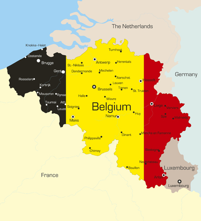 Abstract vector color map of Belgium country coloured by national flag  Vector