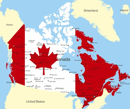 map of canada: Abstract vector color map of Canada country coloured by national flag