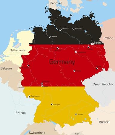 deutschland karte: Abstract Vector Farbe Karte von Deutschland Land gefärbt durch nationale Flagge