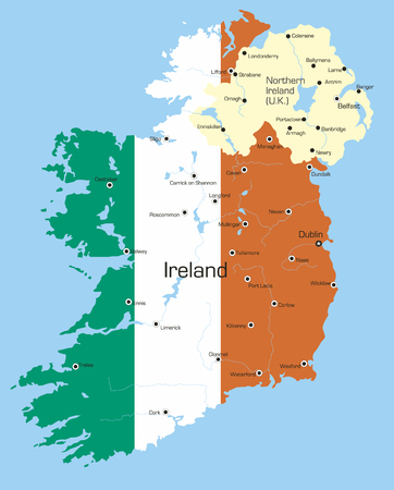 Abstract vector color map of Ireland country coloured by national flag Stock Vector - 3686738