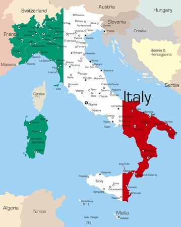 Abstract vector color map of Italy country coloured by national flag