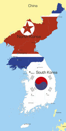 south asian: Abstract vector color map of Korea countries coloured by national flag