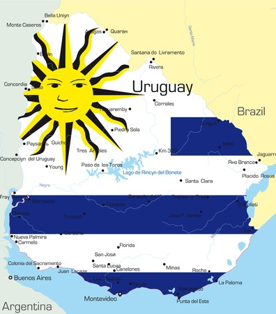guyana: Abstract vector color map of Uruguay country colored by national flag