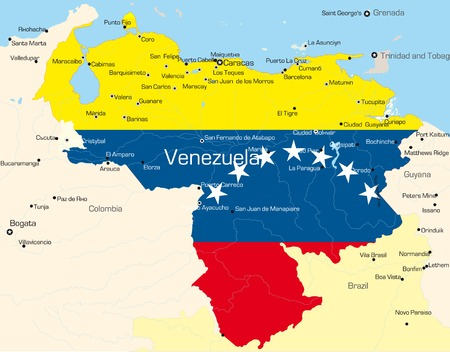 Abstract vector color map of Venezuela country colored by national flag