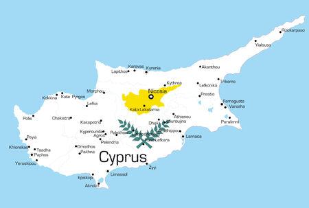 Abstract vettore colore mappa di Cipro paese colorato dalla bandiera nazionale