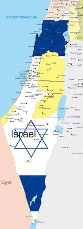 jeruzalem: Abstract vector color kaart van Israël land gekleurd door de nationale vlag