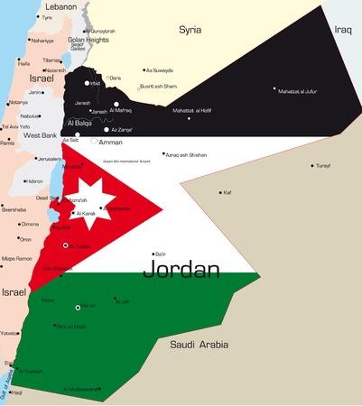 jordanian: Abstract vector kleur kaart van Jordanië land gekleurd door nationale vlag  Stock Illustratie