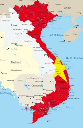 Vector map of Vietnam country colored by national flag Vector
