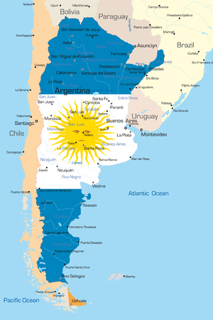 Abstract vector color map of Argentina country colored by national flag  Vector