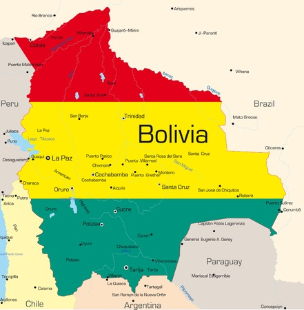Abstract vector color map of Bolivia country colored by national flag