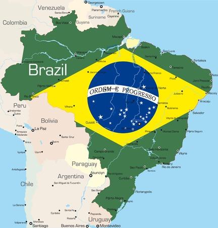 mapa de venezuela: Resumen de vectores de color mapa de Brasil por pa�s de color bandera nacional Vectores