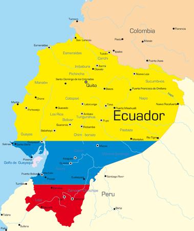 ecuador: Abstract vector kleur kaart van Ecuador land gekleurd door nationale vlag  Stock Illustratie