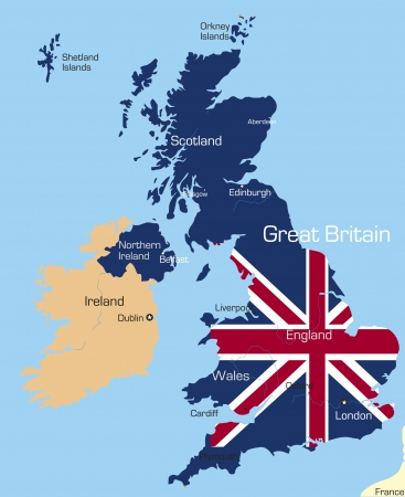 kingdoms: Abstract vector color map of Great Britain country coloured by national flag
