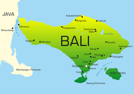 bali: Vector map of Bali country colored by national flag Illustration