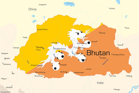 Vector map of Bhutan country colored by national flag Vector