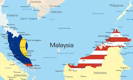 Vector map of Malaysia country colored by national flag Vector
