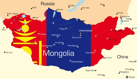 mongolia: Vector map of Mongolia country colored by national flag Illustration