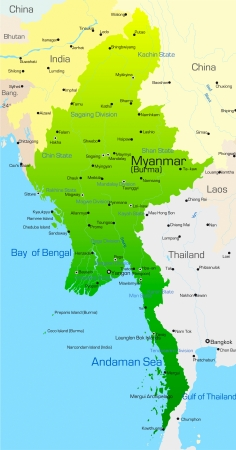 Vector map of Myanmar country Vector