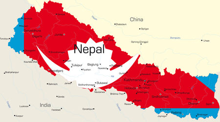 Vector map of Nepal country colored by national flag Vector
