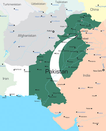 pakistan: Vector map of Pakistan country colored by national flag