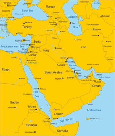 Résumé vecteur couleur de la carte du Moyen-Orient pays