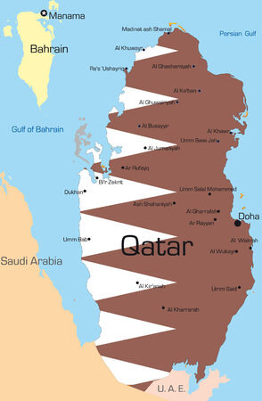 doha: Abstract vector color map of Qatar country colored by national flag Illustration