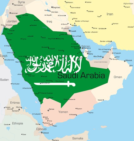 Abstract vector color map of Saudi Arabia country colored by national flag