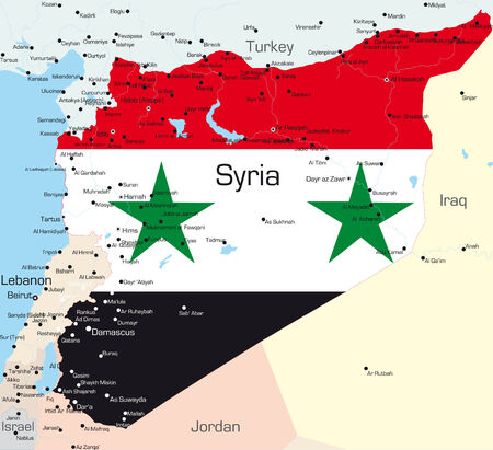 Abstract vector color map of Syria country colored by national flag