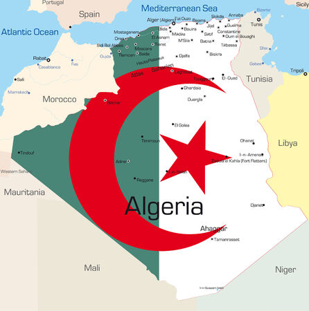Abstract vector color map of Algeria country colored by national flag  Vector