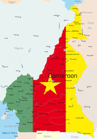 Abstract vector color map of Cameroon country colored by national flag  Vector