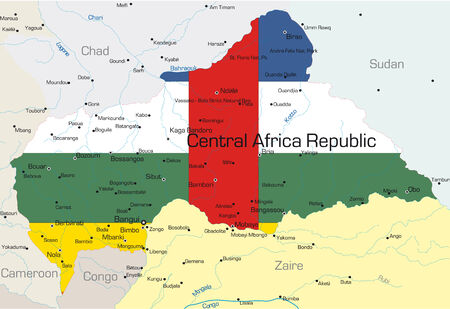 zaire: Abstract vector color map of Central Africa Republic country colored by national flag