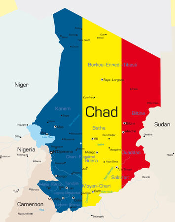 Abstract vector color map of Chad country colored by national flag  Vector