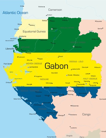 zaire: Abstract vector color map of Gabon country colored by national flag