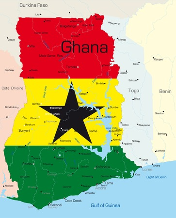 ghana: Abstract vector color map of Ghana country colored by national flag