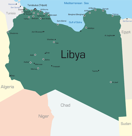 lybia: Abstract vector color map of Lybia country colored by national flag Illustration