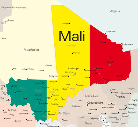 south african flag: Abstract vector color map of Mali country colored by national flag